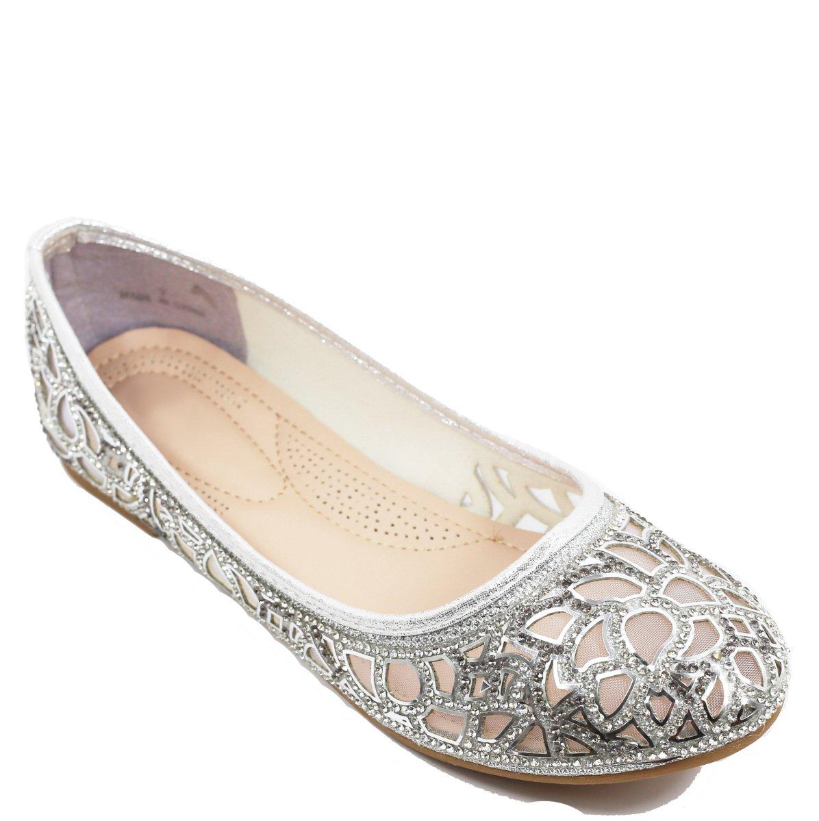 Walstar Women Rhinestone Flats Glitter Mesh Flats Slip on Shoes B071RS5D87 6.5 B(M) US|Mesh-silver