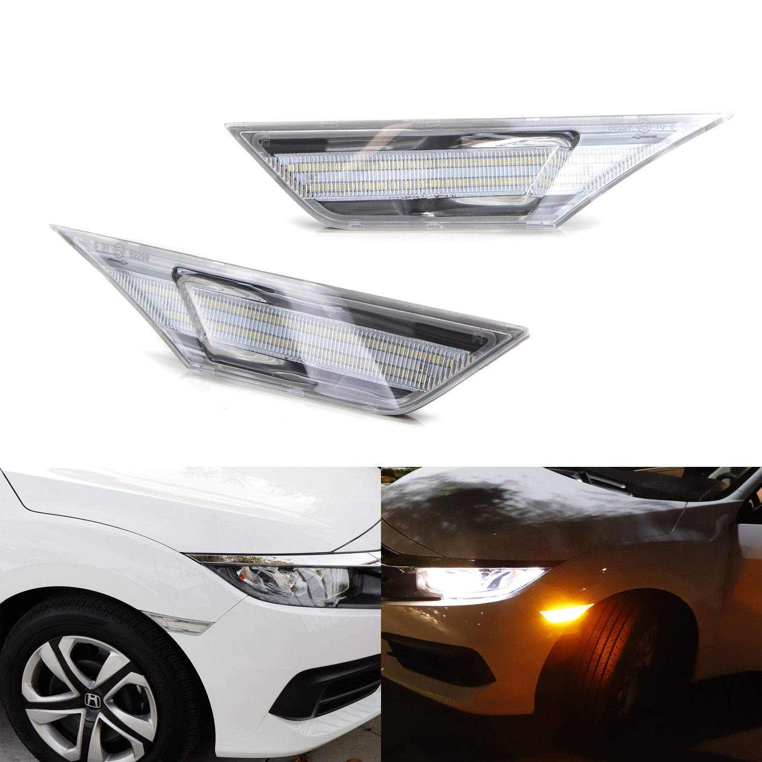 iJDMTOY Clear Lens Amber Full LED Front Side Marker Light Kit For 2016-up Honda Civic, Powered by 90-SMD LED, Replace OEM Sidemarker Lamps iJDMTOY Auto Accessories Change Left/Right Original Lamp Assembly