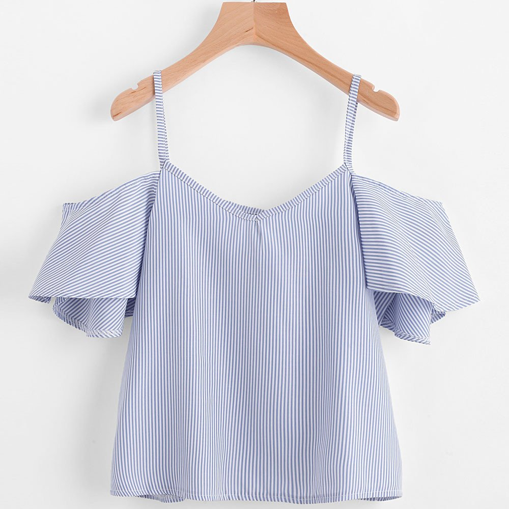 Amazon.com: Challyhope Women Summer Fashion Pinstripe Spaghetti Strap Blouse Cold Shoulder Blouse (M, Blue): Home & Kitchen