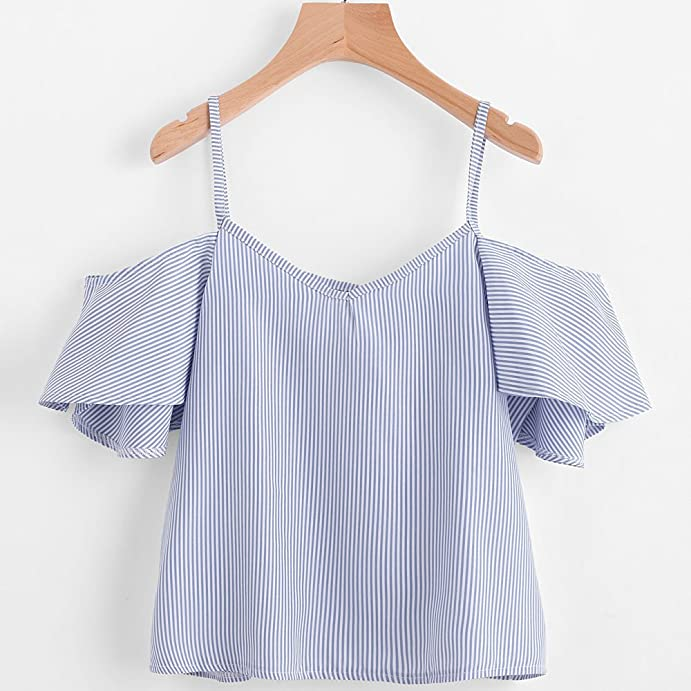 Blouse Tops, By Bike Women Casual Nylon Pinstripe Blouse- Cold Shoulder Top- Striped Pattern- V-Neck, Blue at Amazon Womens Clothing store: