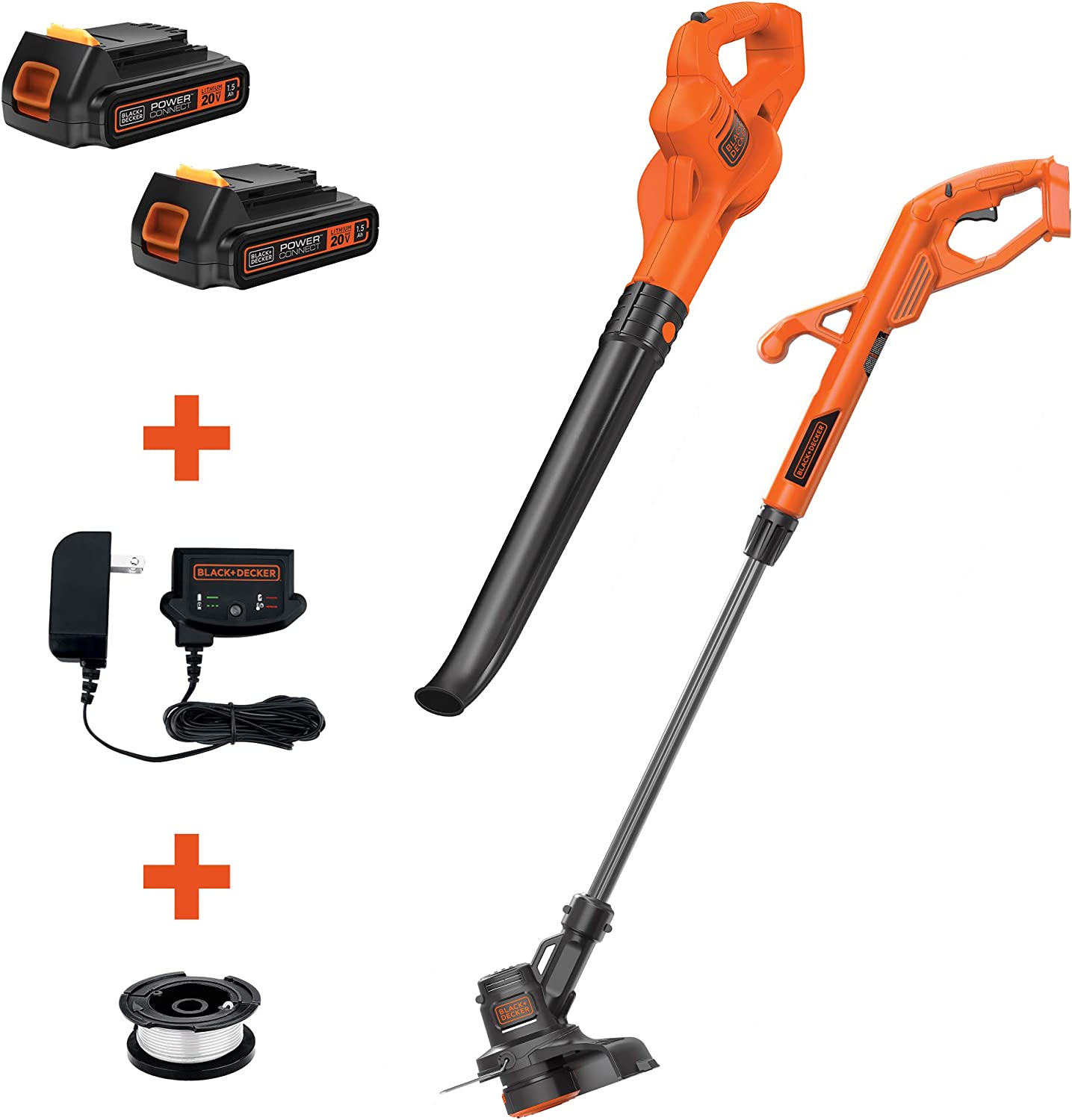 BLACK+DECKER LCC222 20V MAX Lithium String Trimmer/Edger, Sweeper Plus, 10