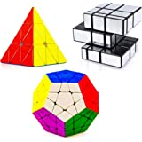 D ETERNAL Cube Combo Set of Stickerless Pyraminx Triangle Megaminx & Stickered Mirror High Speed Cube Puzzle
