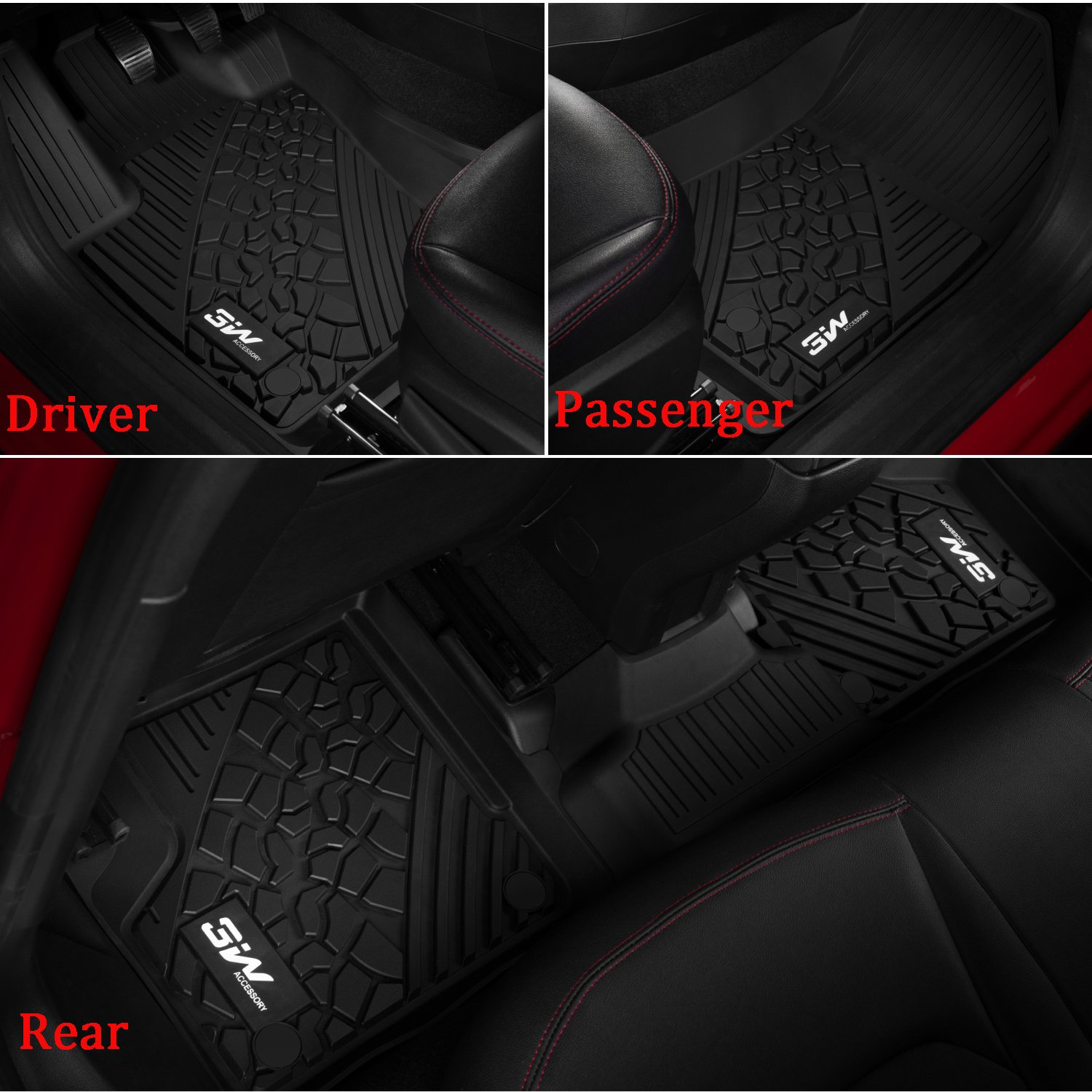 3W Floor Mats&Cargo Liner for Jeep Grand Cherokee (2016-2019) Full Set Heavy Duty Protection Custom Fit Floor Carpet&Trunk Mat All Weather Odorless TPE, Black by 3W (Image #2)