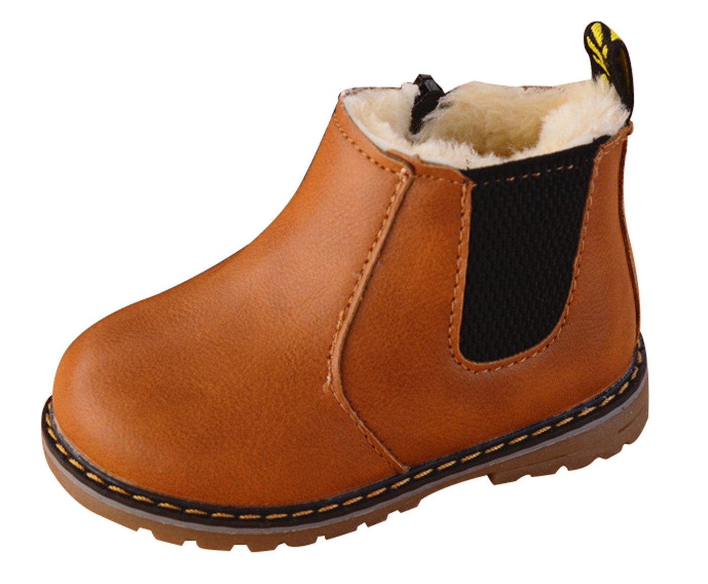 Autumn Winter Comfort Boots Martin Boots Lace up High Top Ankle Shoes for Baby Boys Girls Brown Size 6 M NINGQIUPI
