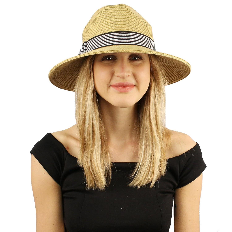 c36bed0801c4 Summer Metallic Light Airy Fedora Panama Derby Beach Pool Sun Hat SK Hat  Shop Women