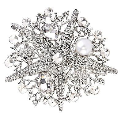 b6a14ae0473 eGlomart Classic Crystal Rhinestone Large Starfish Brooch Pins Woman Jewelry  [White]