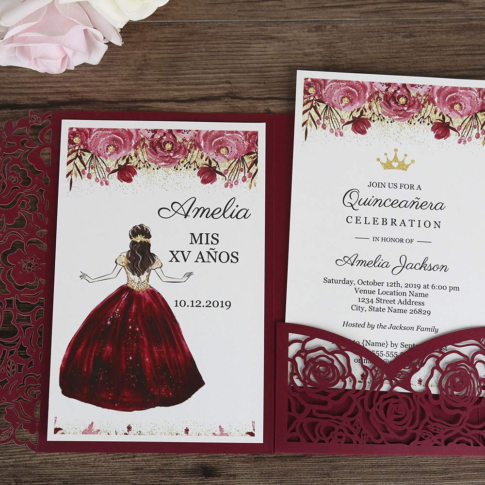 Doris Home 50pcs 4.7 x7.1 inch wedding invitations with envelopes for Bridal Shower Invitations, Dinner Invitations, CW0008 (Burgundy, 50pcs Blank) by Doris Home (Image #7)