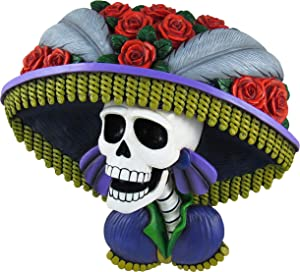 World of Wonders - Catrina Series - La Calavera Catrina - Collectible Day of The Dead Dia De Los Muertos Halloween Decorations Sugar Skull Skeleton Wall Art Mounted Hanging Bust Sculpture, 14.5-inch