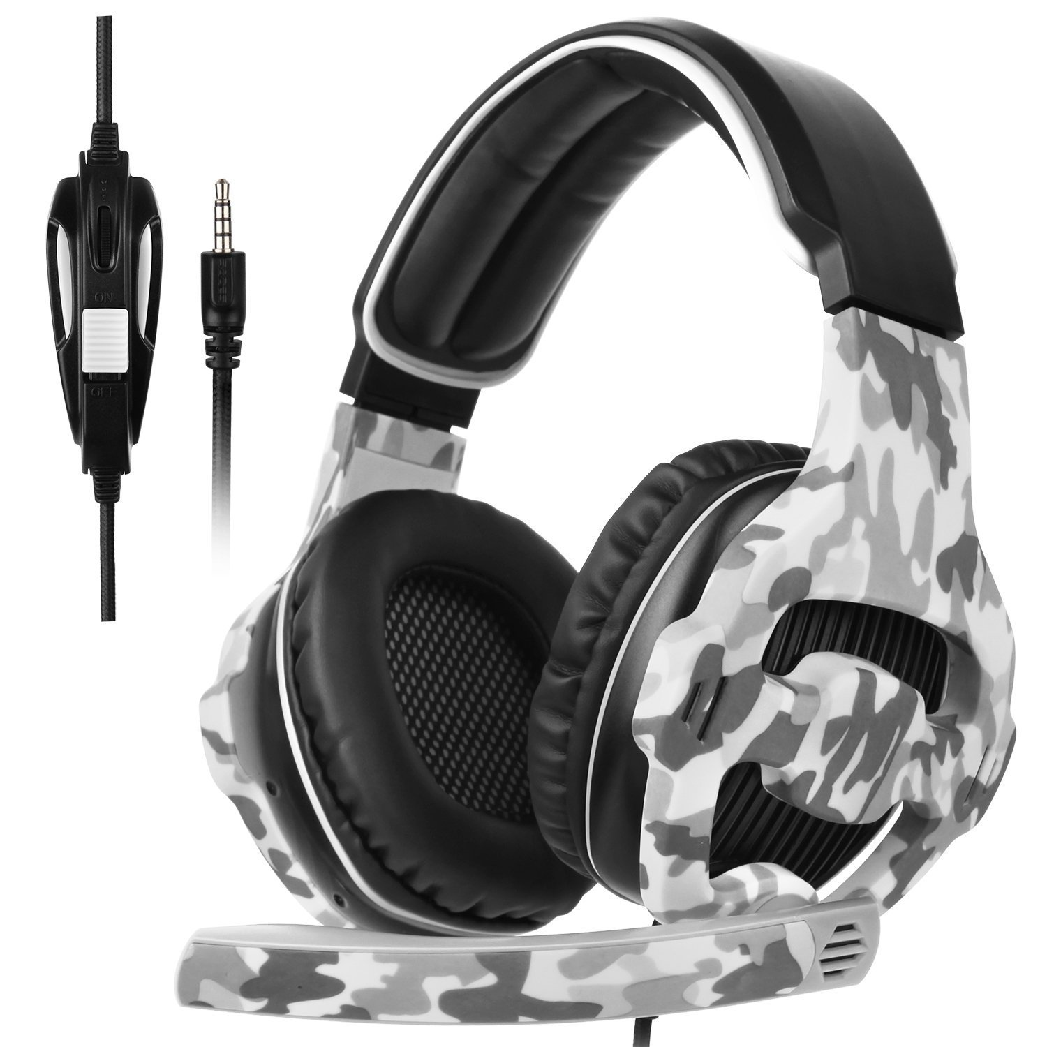 SADES SA810Plus Over-Ear Stereo Gaming Headset Headband Headphones with HiFi Mic Control-Remote Noise-Reduction for PC Computers/Notebooks/New Xbox One/PS4(Camouflage)