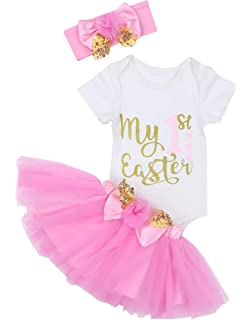 AISHIONY 4PCS Baby Girl Newborn My 1st Easter Egg Tutu Onesie Outfit Skirt Dress