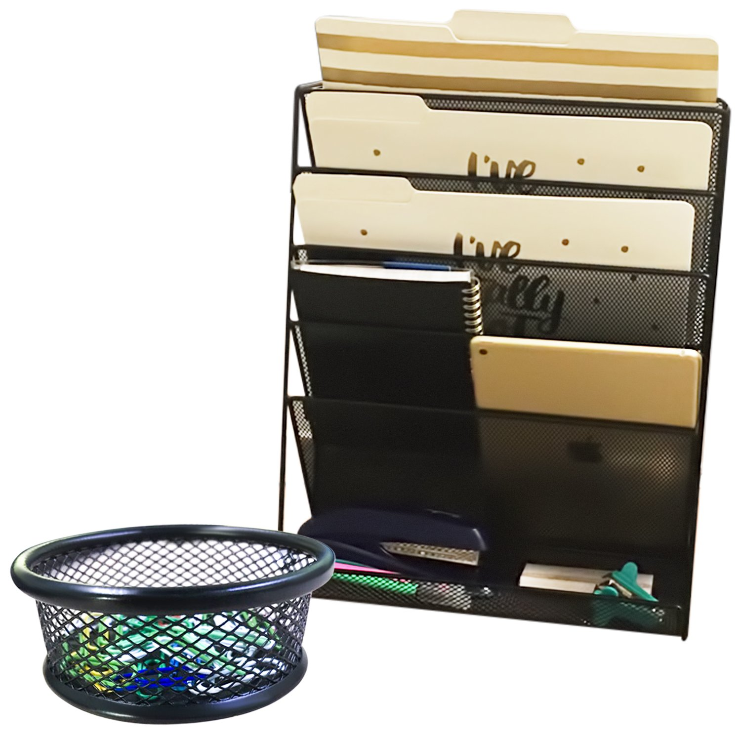 Hanging Mesh Wall Metal File Holder/Organizer, Including Matching Wire Paper Clip Holder Plus Bonus Paper Clips