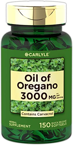 Oregano Oil 3000 mg 150 Softgel Capsules Contains Carvacrol Non-GMO Gluten Free Oil of Oregano Pills by Carlyle
