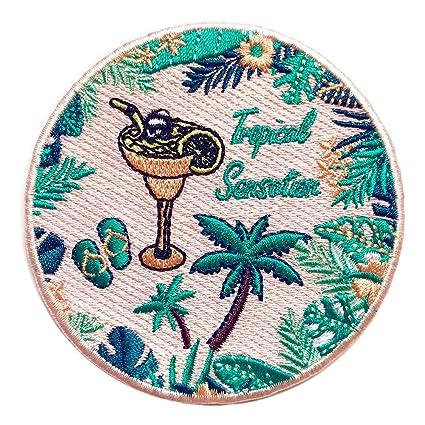 9d676c7e1d3 Amazon.com  Tropical Sensation Iron On Patch Cocktail Palm Island ...