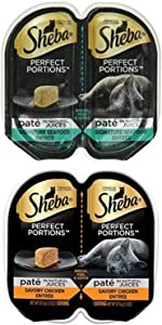 Sheba Perfect Portions Paté In Natural Juices Signature Seafood And Savory Chicken Entrée Grain Free Cat Food 2.6 Ounces (48 Twin Packs)