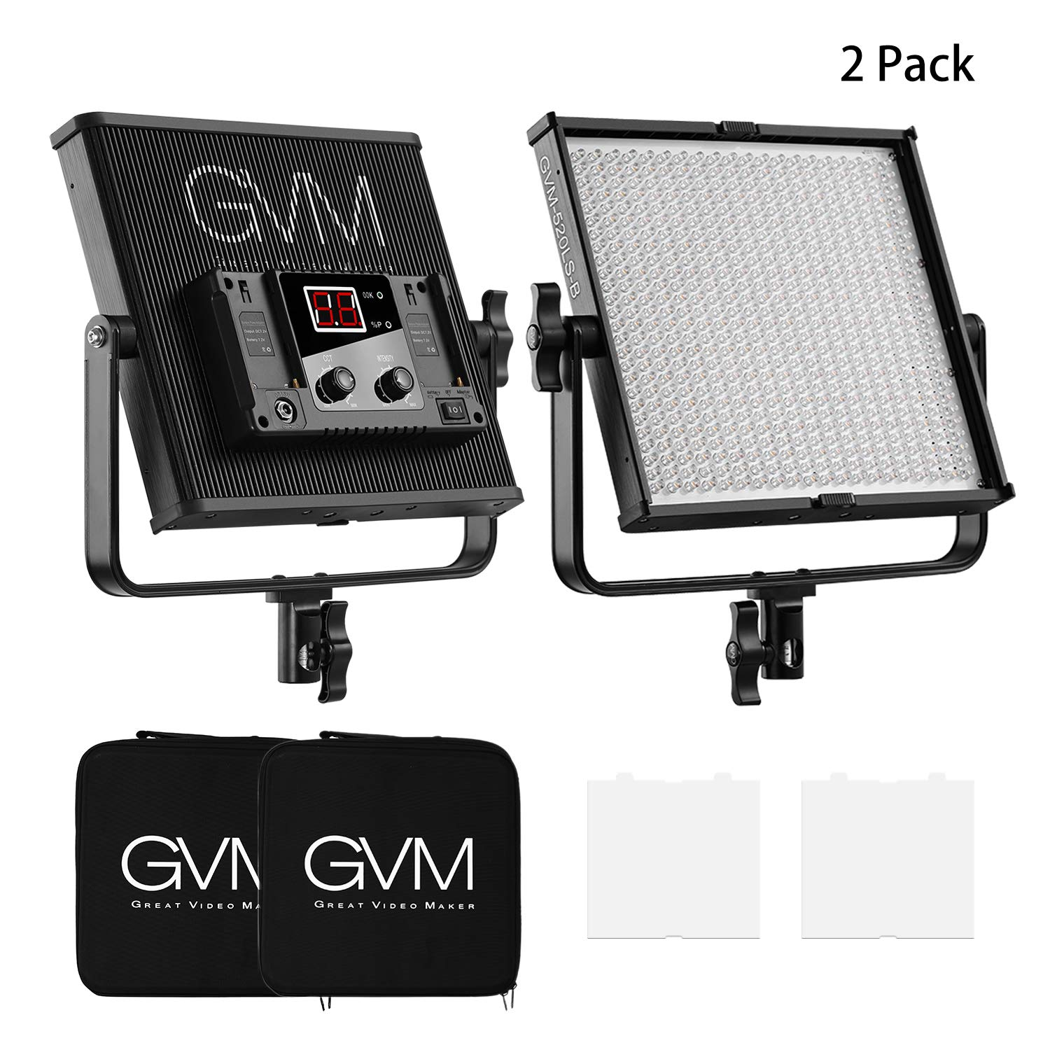 LED Video Lighting Kit, GVM 2 Pack 520LS Video Light Featured with CRI 97+, 520 Beads Adjustable Bi-Color 3200-5600K, LCD Screen, Thick Aluminum Alloy Case, Adjustable 360-Degree and U-Shaped Frame by GVM Great Video Maker