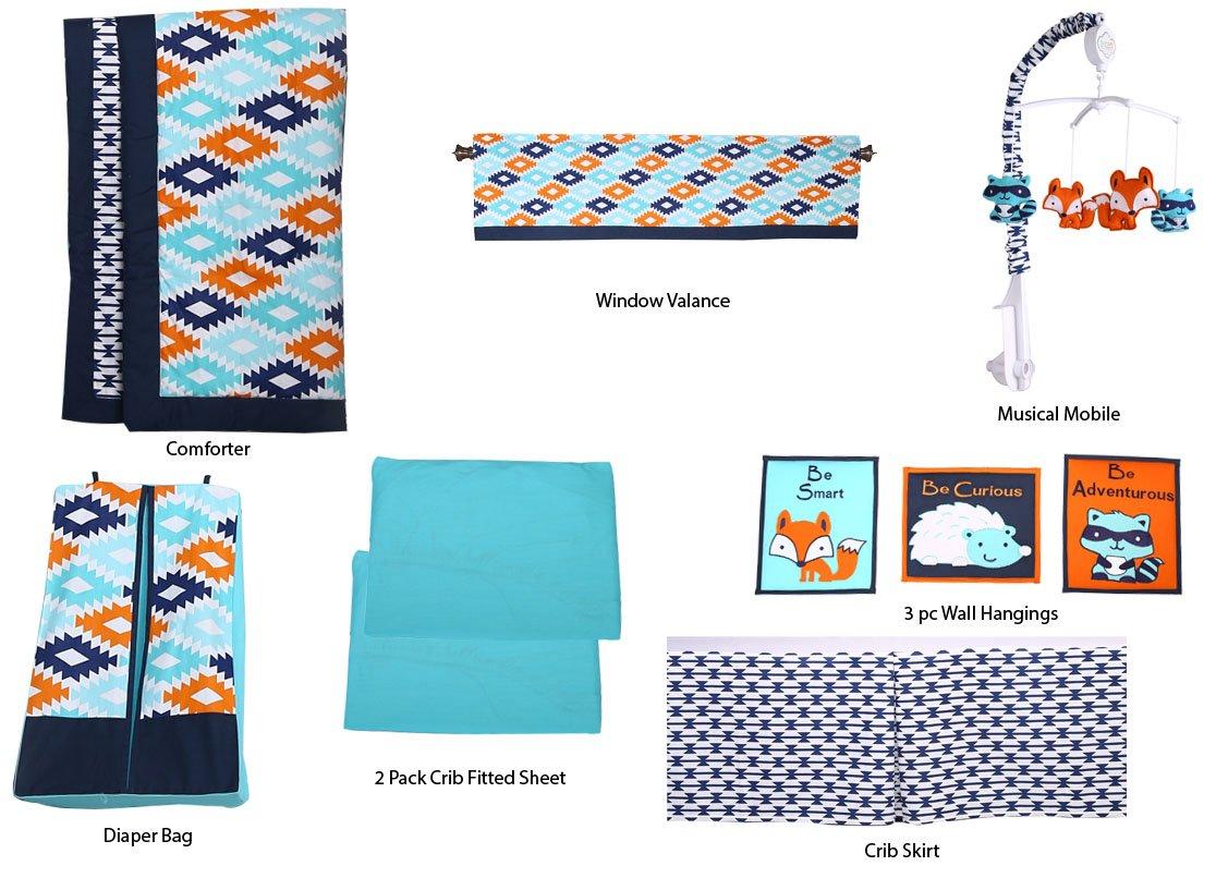 Bacati Liam Aztec 10 Piece Nursery-in-a-Bag Cotton Percale Unisex Crib Bedding Set, Aqua/Orange/Navy