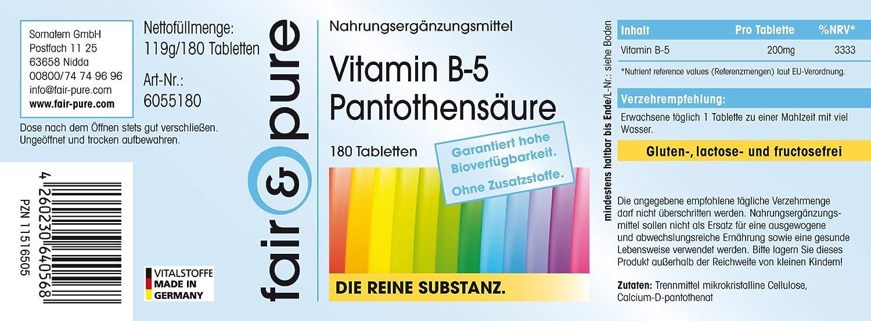 180 comprimidos vegetarianas de vitamina B5 (200 mg) - Ácido pantoténico y D-pantotenato de calcio - Sustancia pura y sin aditivos: Amazon.es: Salud y ...