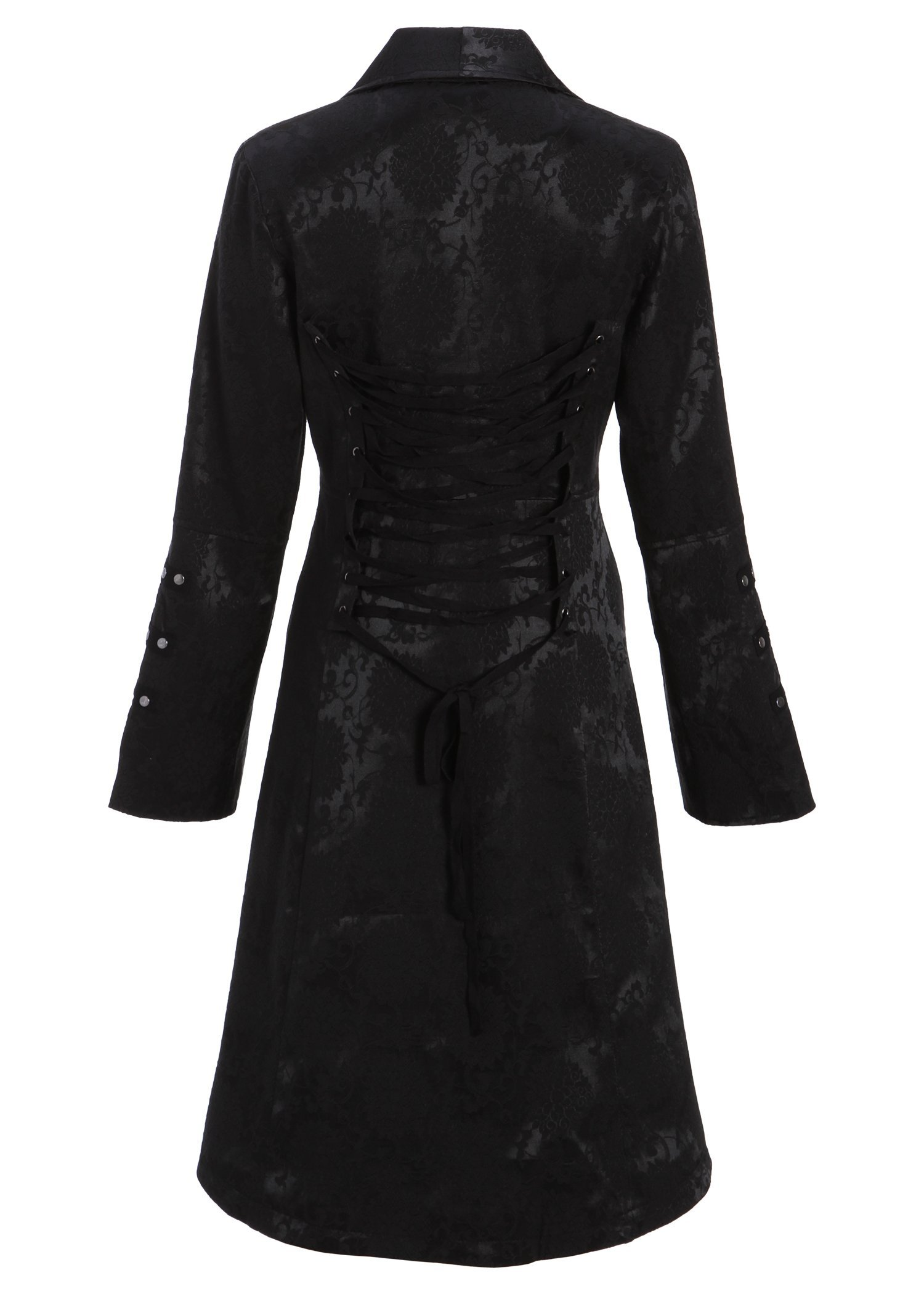 Womens Black Brocade Gothic Steampunk Floral Jacket Pirate Coat 4