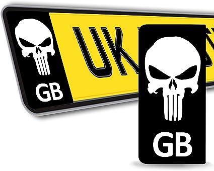 SkinoEu® 2 x PVC Laminado Adhesivos Stickers Pegatinas Para Placa de Matrícula UE Bandera de Gran Bretaña GB EU Punisher Cráneo Calavera Autos Coches Motos Ciclomotores QV 36: Amazon.es: Coche y moto