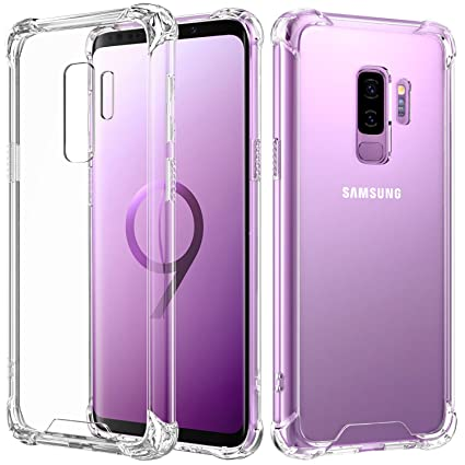 MoKo Cover Compatible for Samsung Galaxy S9 Plus Case, Reinforced Corners TPU Bumper Cushion + Anti-Scratch Hybrid Rugged Transparent Panel Cover for ...