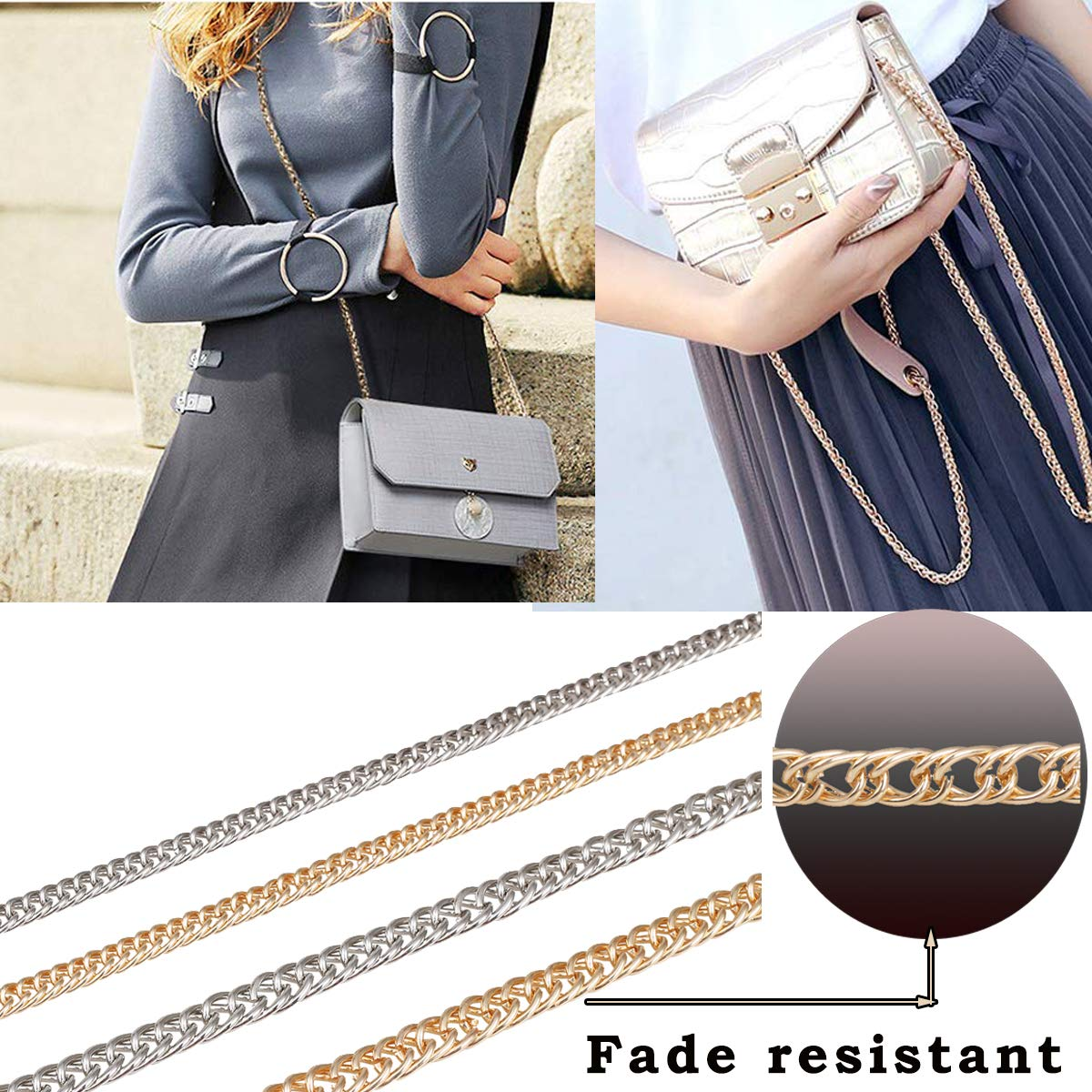 DIY Metal Chain Strap Replacement DIY Purse Chain Strap with Buckles for for Shoulder Cross Body Bag Handbag Purse Clutch Wallet Satchel Tote Chains Accessories,10mm Width Sliver
