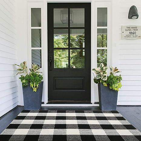"Buffalo Check Rug 27/"" x 43"" DoormatFarmhouse RugLayering Mat For Entryway"