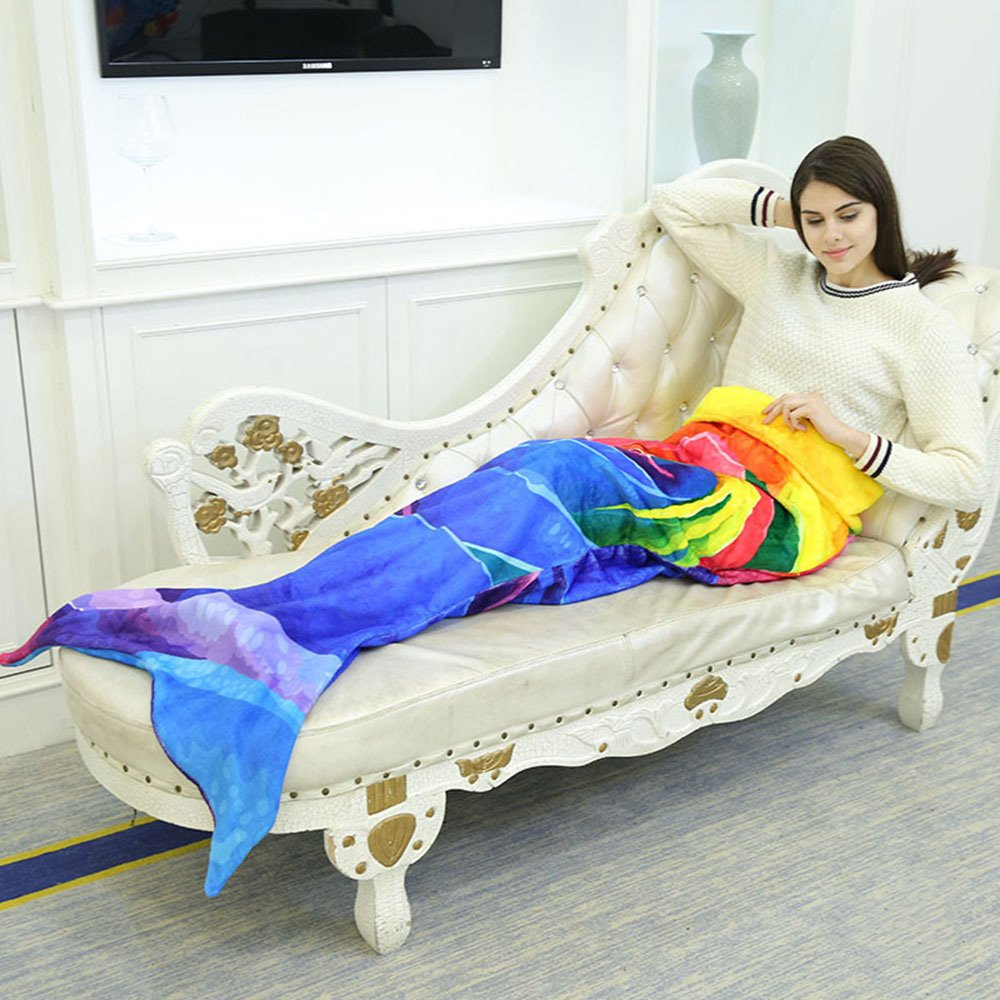 Mermaid Tail Blanket For Adults Women Air Condition Sofa Bed Couch Towel Super Soft Beach Towel Warm Gifts Sleeping Bags For All Season Footalk