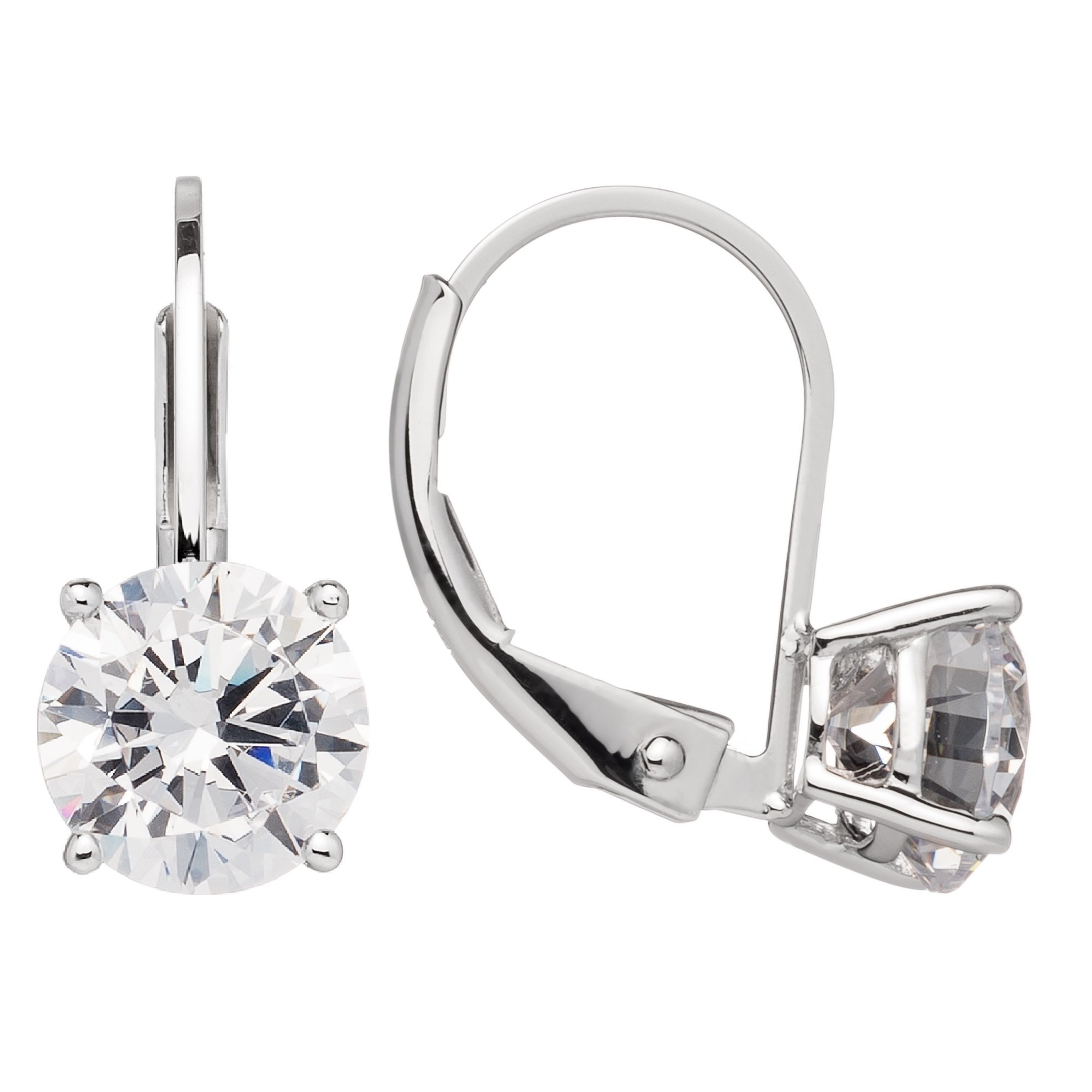 Everyday Elegance | 14K Solid White Gold Earrings | Round Cut Cubic Zirconia | Leverback Drop Dangle Basket Setting | 1.8 ctw | With Gift Box