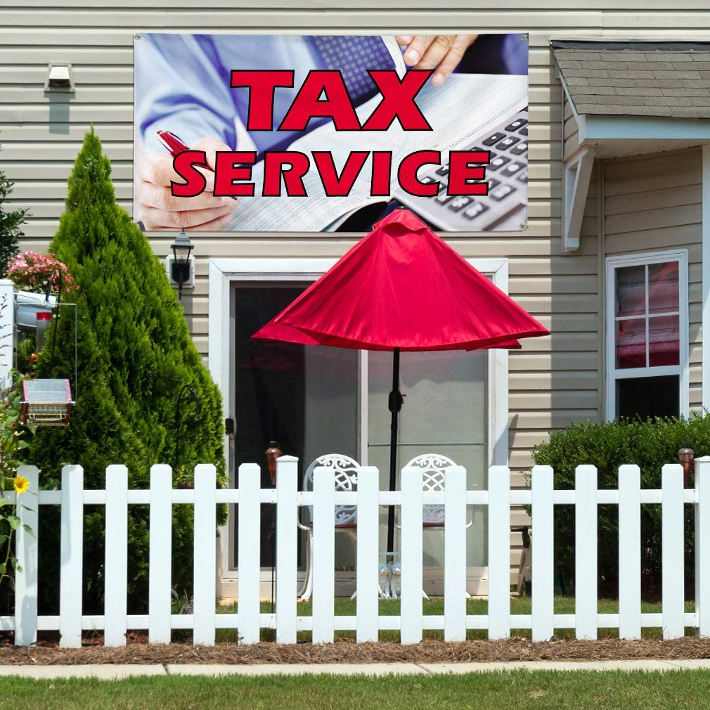 Vinyl Banner Multiple Sizes Tax Service Outdoor Advertising Printing E Business Outdoor Weatherproof Industrial Yard Signs White 4 Grommets 24x36Inches