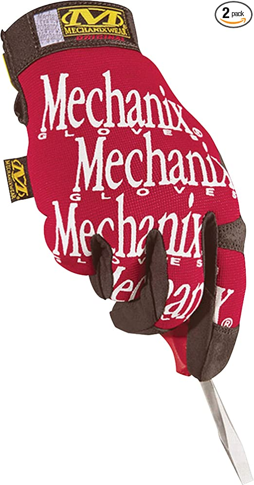 Large, red 2 Pair of Working Hand Utility Gloves with touchscreen