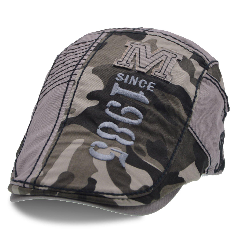 UPhitnis Baumwolle Flatcap | Schiebermütze | Schirmmütze Einstellbar Schick - Streifen, Camo, Kariert Spleißen Kariert Spleißen W0184