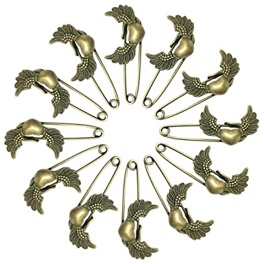 1f1de451e Ababalaya Women's 12 Pcs Decorative Bronze Assorted Safety Pins Vintage  Hijab Pins Retro Brooches Sweet Wings
