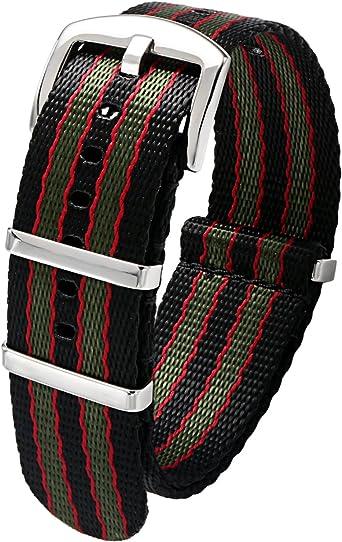 PBCODE Correas de reloj Cinturón de seguridad Correa de nylon Nato Hebilla pulida resistente Correas 20mm Negro/Rojo/Verde: Amazon.es: Relojes