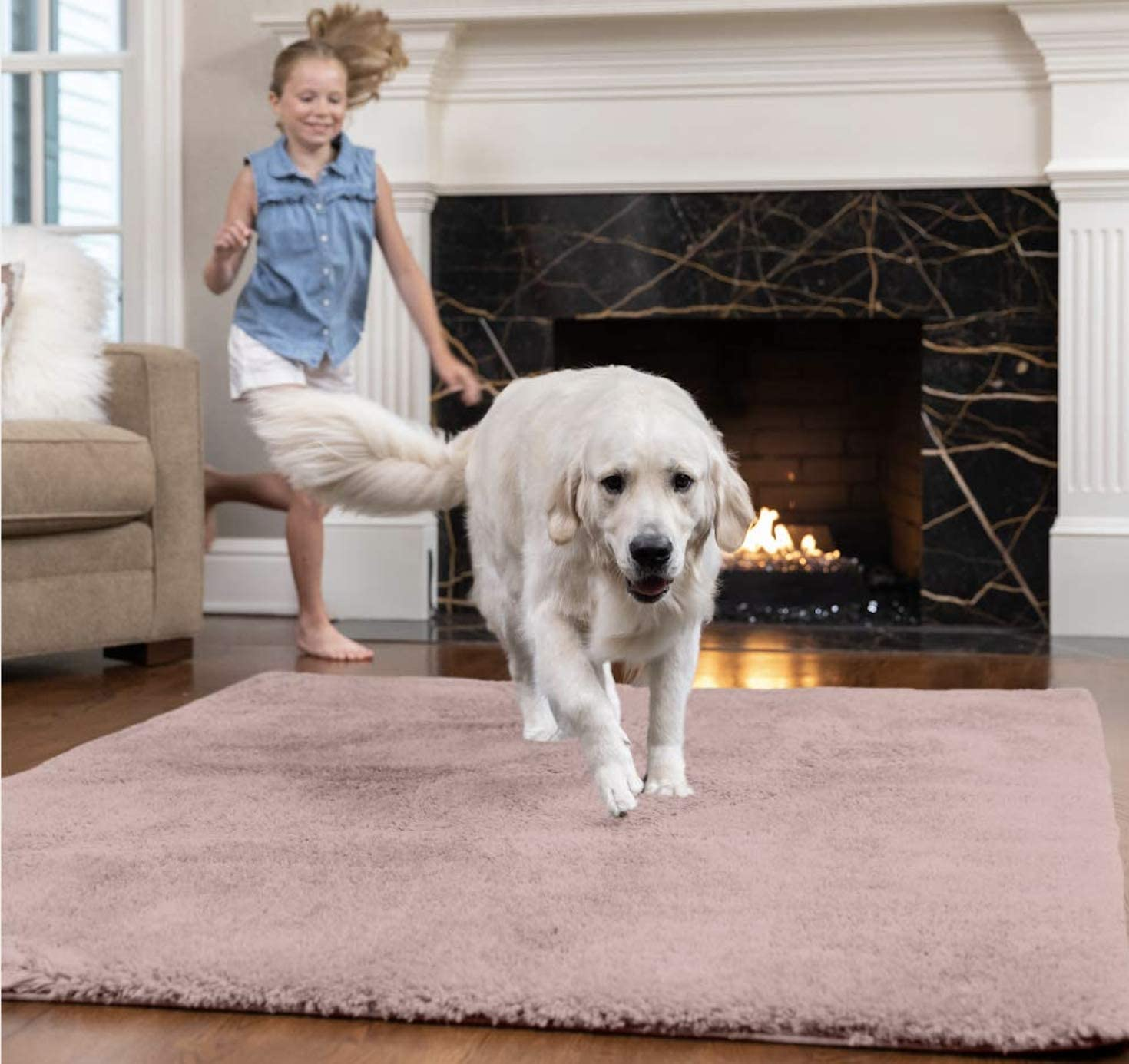GORILLA GRIP Original Faux-Chinchilla Area Rug, 7.5x10 FT, Many Colors, Soft and Cozy High Pile Washable Kids Carpet, Floor Rugs, Luxury Shag Carpets for Home, Nursery, Bed and Living Room, Dusty Rose