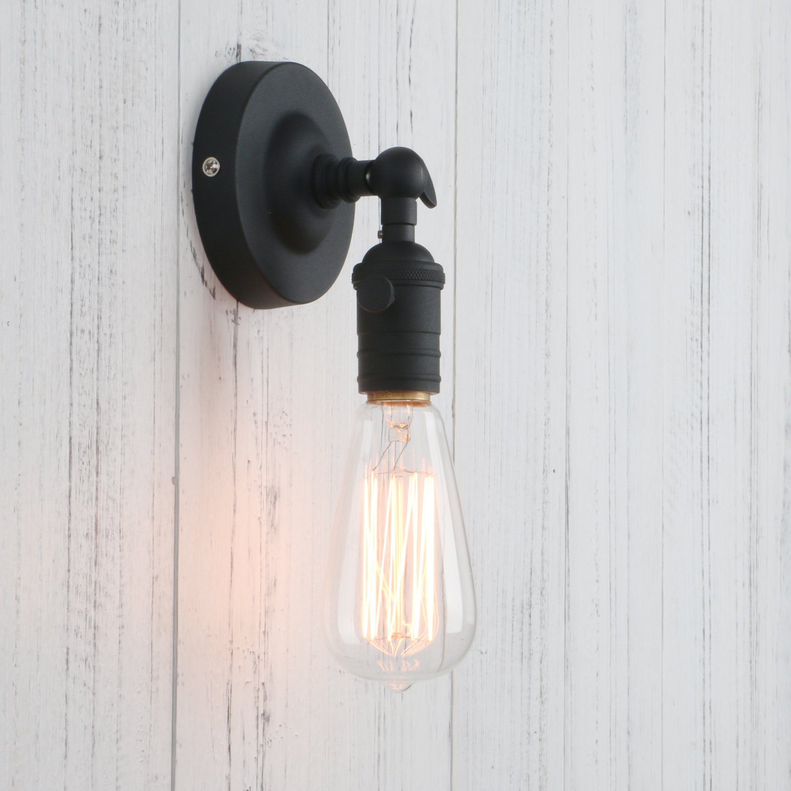 Permo Minimalist Single Socket 1- Light Wall Sconce Lighting with On/Off Switch (Black)