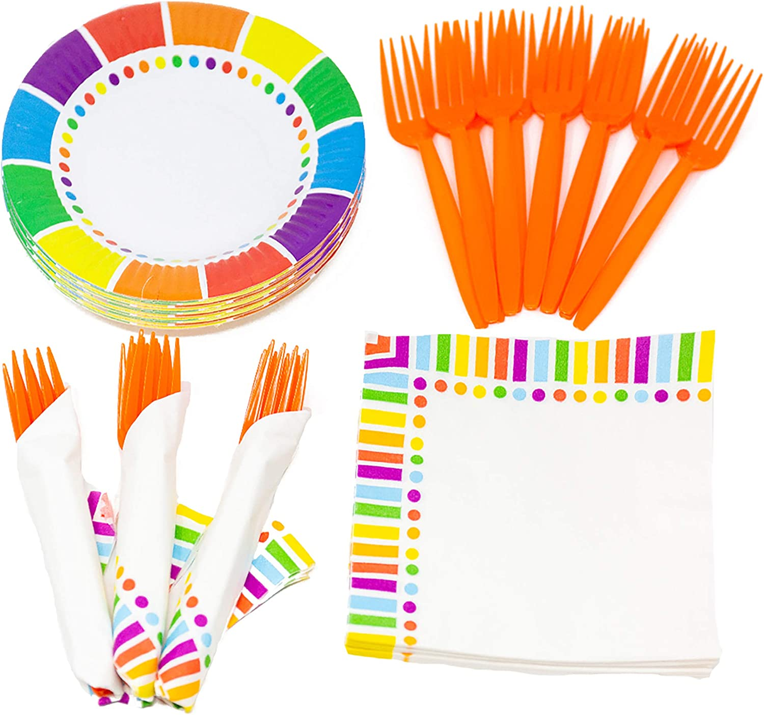 Rainbow Value Party Supplies Pack (58+ Pieces for 16 Guests), Value Party Kit, Rainbow Party Plates, Rainbow Birthday, Napkins, Forks, Tableware: Health & Personal Care