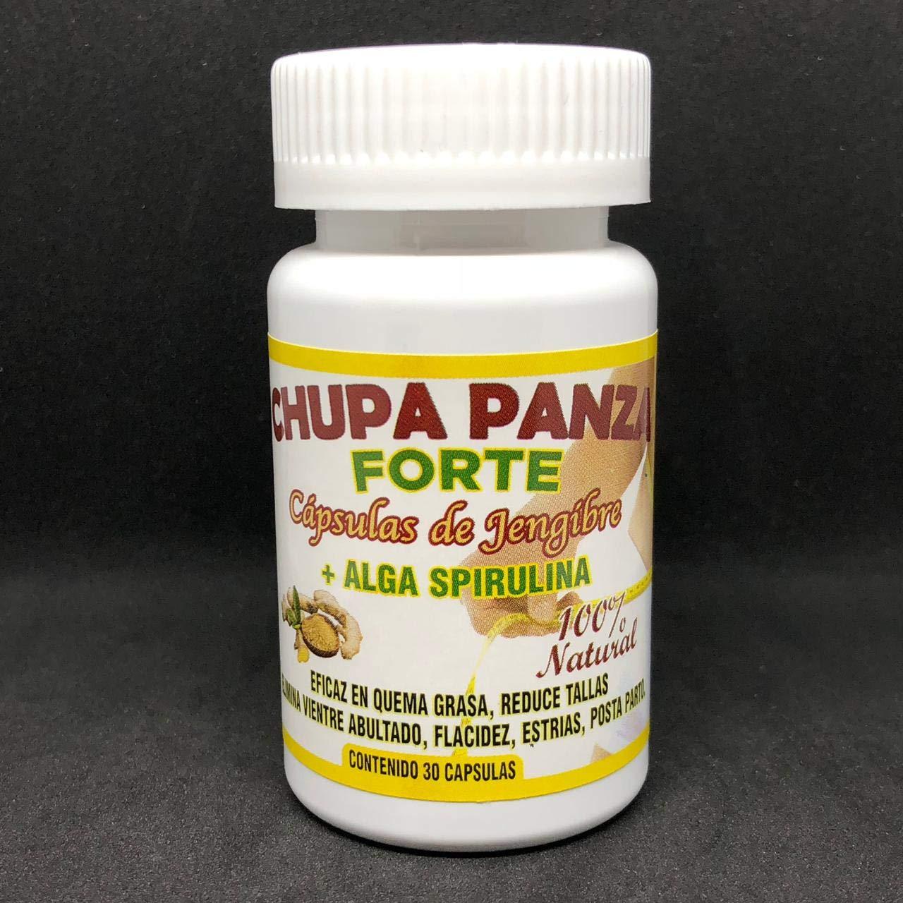 Amazon.com: Chupa Panza 60 Cap Jengibre+Alga Espirulina Quema Grasa ...