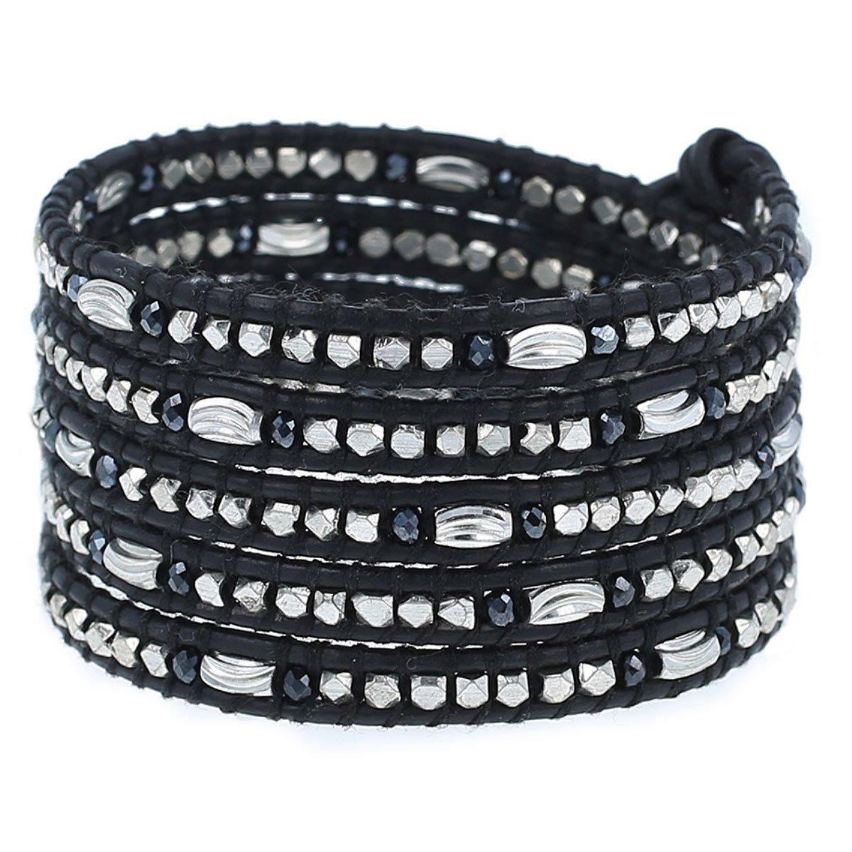 Chan Luu Midnight Mix Bead Wrap Bracelet on Natural Black Leather