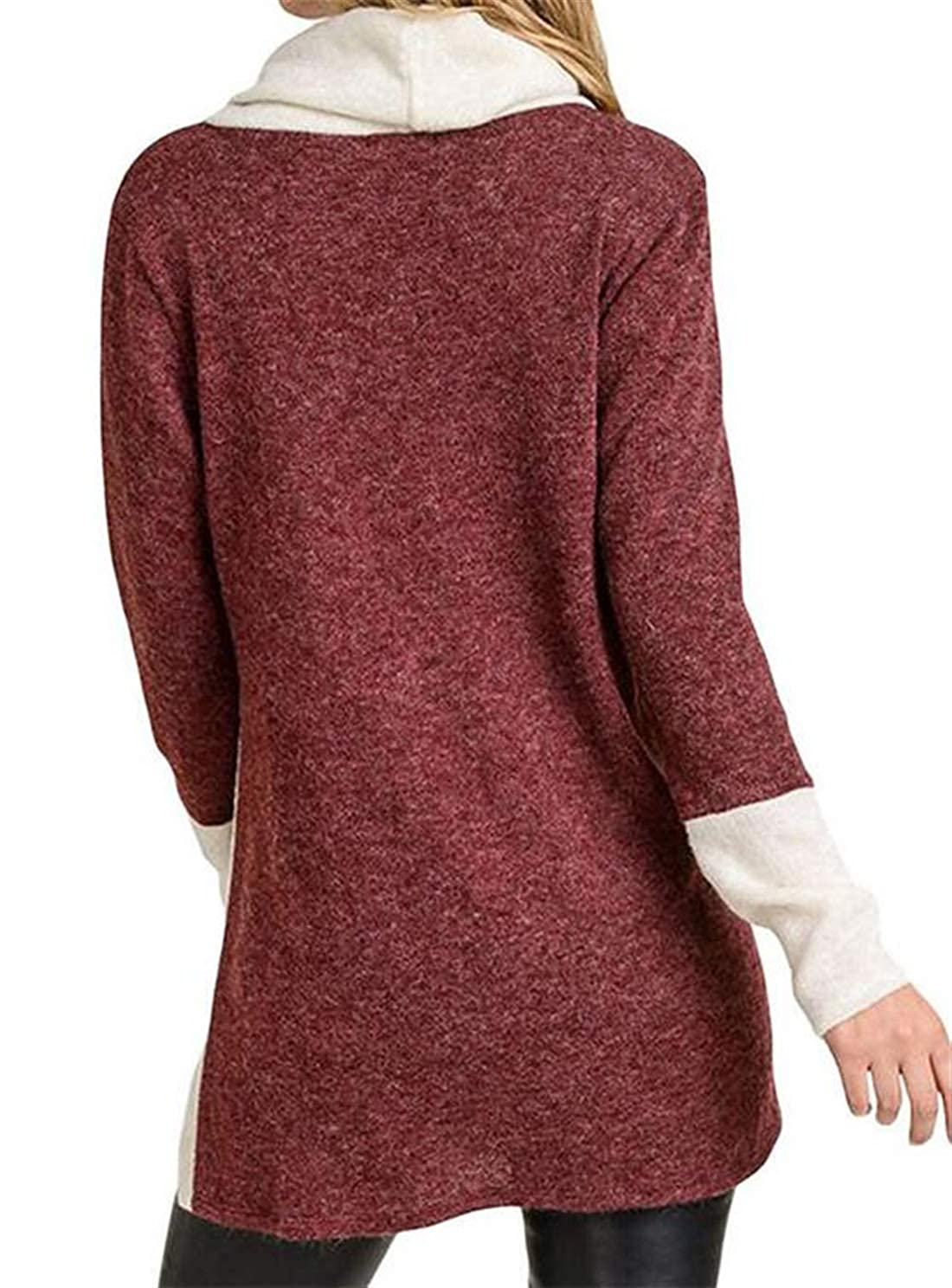 X-Future Womens Long Sleeve Patchwork Split Cowl Neck Solid Buttons Casual Pullover Sweatshirt