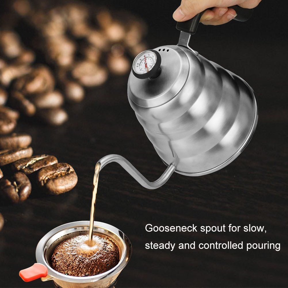 Coffee Kettle with Thermometer for Exact Temperature, 1.2Liter(41floz), Gooseneck Drip Kettle for Coffee, Tea, Home Brewing, Camping and Traveling by ECPURCHASE by ECPURCHASE (Image #5)