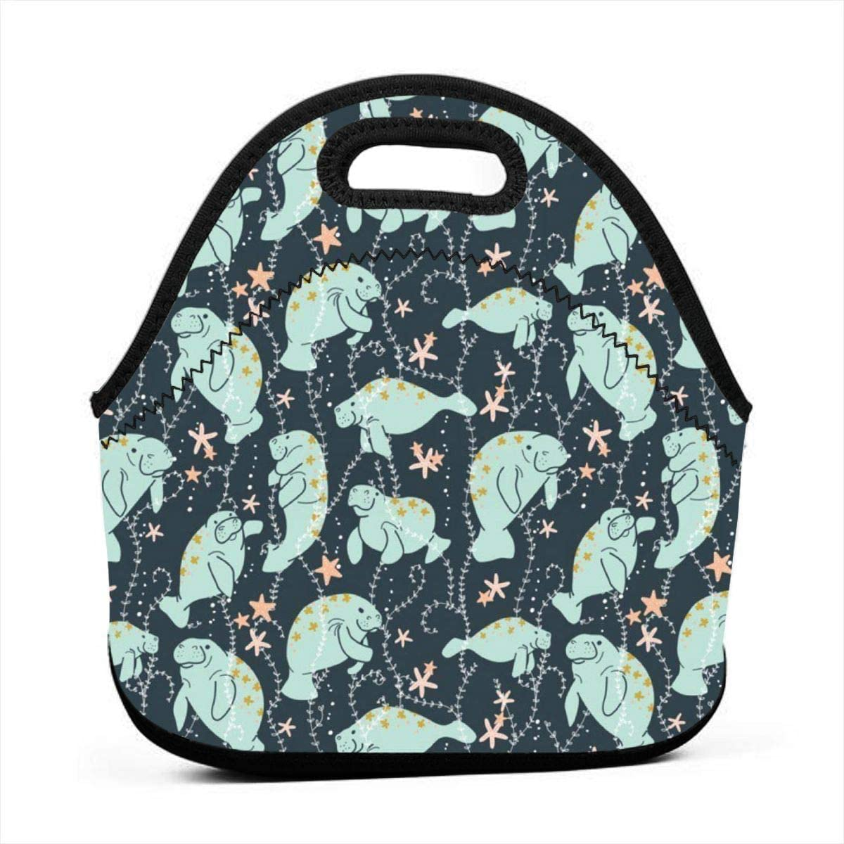 Manatee Animals Insulated Neoprene Lunch Bag Tote Handbag lunchbox Food Container Gourmet Tote Cooler warm Pouch For School work Office