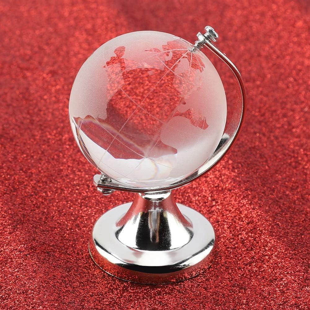 Asixx Globe en Verre Cristal Argent Globe terrestre Rond Carte du Monde Boule de Verre en Cristal sph/ère Home Office Decor Cadeau Bureau /à Domicile d/écor Sph/ère