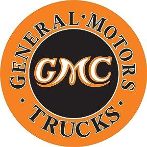 "Desperate Enterprises GMC Trucks Round Tin Sign, 11.75"" Diameter"