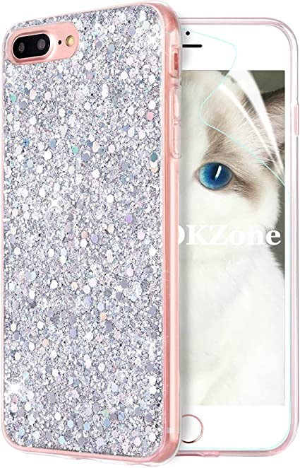 OKZone Funda iPhone 8 Plus,Funda iPhone 7 Plus, Cárcasa Brilla Glitter Brillante TPU Silicona Teléfono Smartphone Funda Móvil Case para Apple iPhone 7 Plus/iPhone 8 Plus 5,5