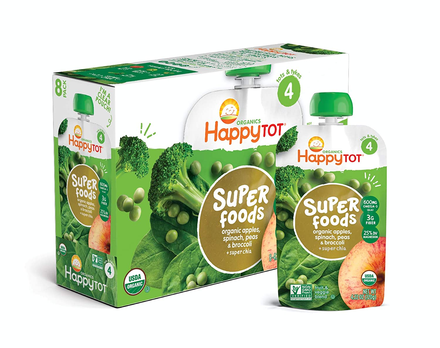 Happy Tot Organic Stage 4 Super Foods Apples Spinach Peas & Broccoli + Super Chia, 4.22 Ounce Pouch (Pack of 16) (Packaging May Vary)