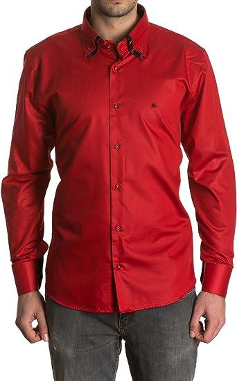 Sinigual - Camisa Lisa De Hombre Con Puños Reversibles, Doble Cuello Abotonado Y Cierre De Dos Botones Color Rojo, Talla Xxl: Amazon.es: Ropa y accesorios
