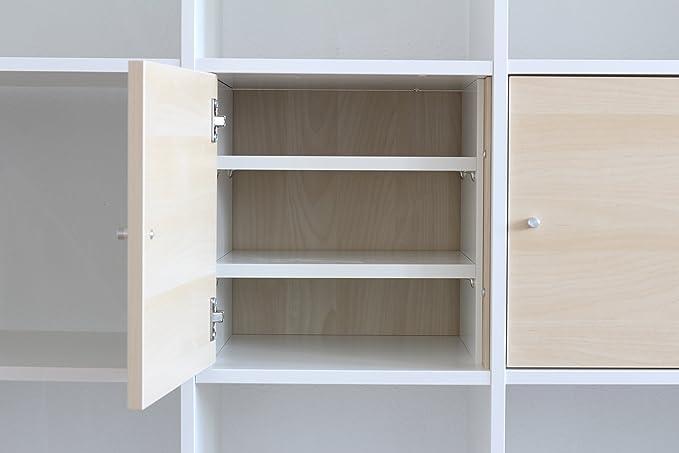 inwona compartimento adicional para Ikea Kallax Puerta Uso/con 2 estantes,/Extra para formar estantería estante/Estable estantes ajustables/100% IKEA ...