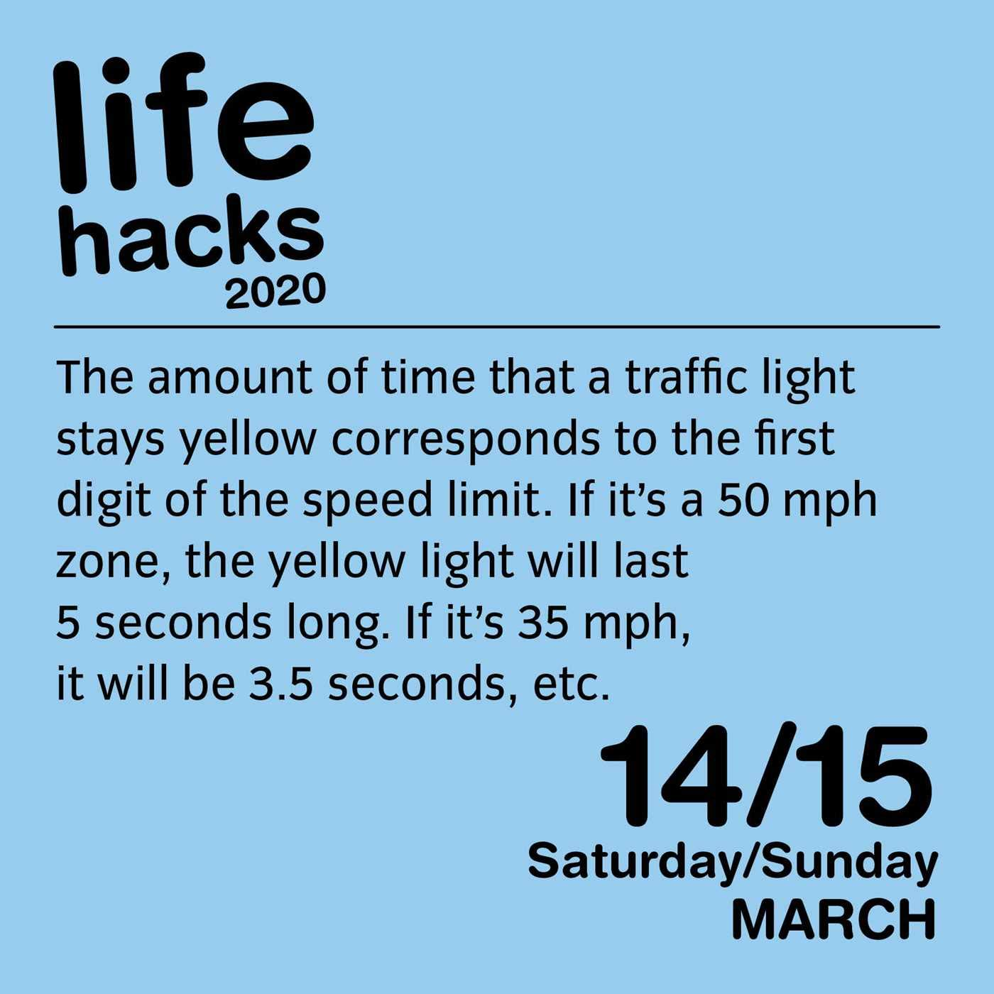 Page of Life Hacks daily Calendar