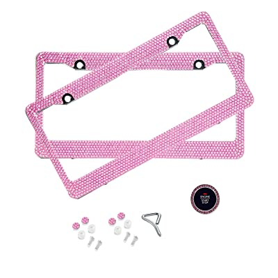 BLVD-LPF Light Pink Crystal Rhinestone License Plate ABS Chrome Frame with Crystal Screw Caps - Set of 2 Frames: Automotive