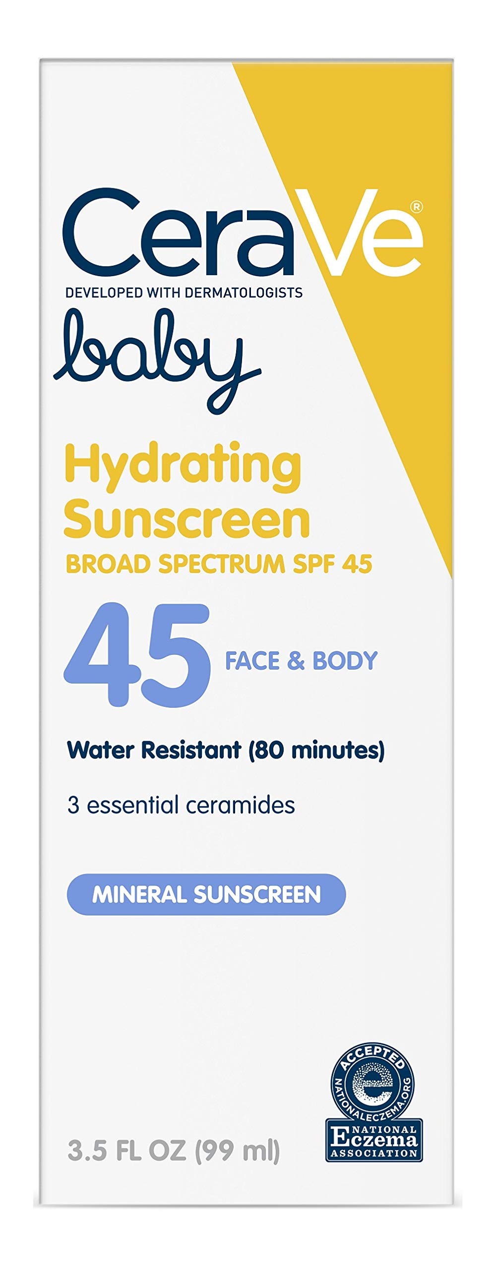 CeraVe Mineral Baby Sunscreen SPF 45 | 3.5 Ounce | Baby Lotion Sunblock to Protect Delicate Skin | Paraben, Sulfate & Fragrance Free by CeraVe